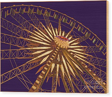 Ferris Wheel Wood Print by Cheryl Del Toro
