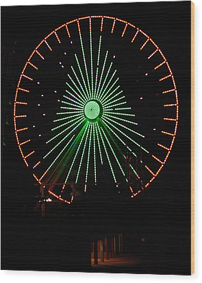 Ferris Wheel Christmas Tree Wood Print