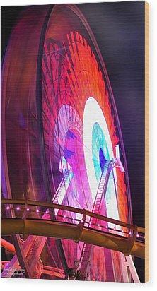 Wood Print featuring the digital art Ferris Wheel by Gandz Photography
