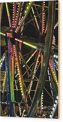 Wood Print featuring the photograph Lit Ferris Wheel  by Lilliana Mendez