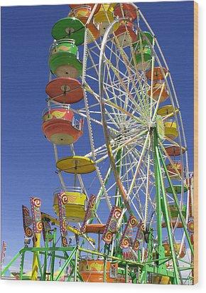 Ferris Wheel Wood Print by Marcia Socolik
