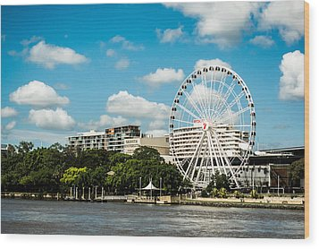 Ferris Wheel On The Brisbane River Wood Print