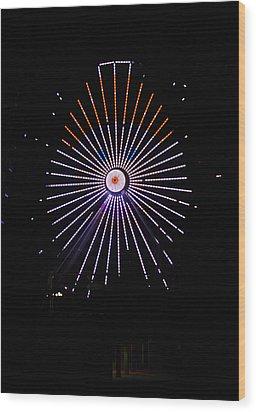 Ferris Wheel Santa Wood Print
