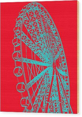 Ferris Wheel Silhouette Turquoise Red Wood Print by Ramona Johnston
