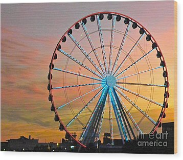 Ferris Wheel Sunset Wood Print by Eve Spring