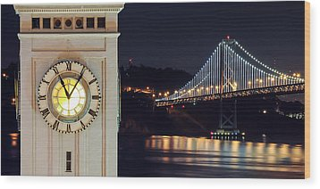 Ferry Building And Bay Bridge Wood Print