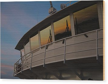 Ferry Sunset Wood Print