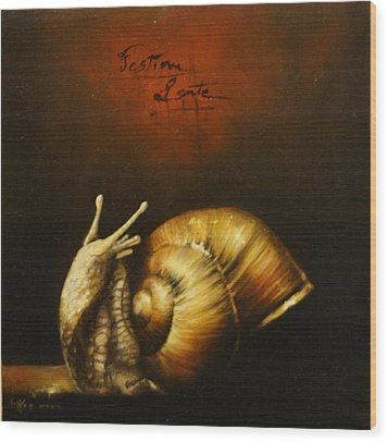 Festina Lente Wood Print by Simone Galimberti