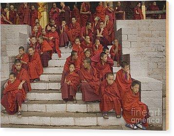 Wood Print featuring the digital art Festival In Bhutan by Angelika Drake