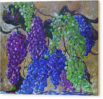 Wood Print featuring the painting Festival Of Grapes by Eloise Schneider