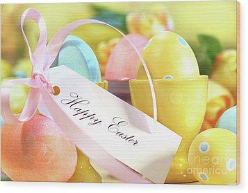 Festive Easter Eggs Wood Print by Sandra Cunningham