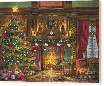 Festive Fireplace Wood Print by Dominic Davison