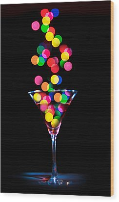 Festive Martini Wood Print by Cecil Fuselier