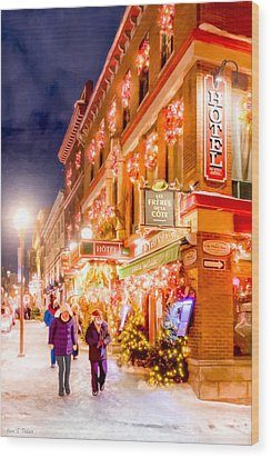 Festive Streets Of Old Quebec Wood Print by Mark Tisdale