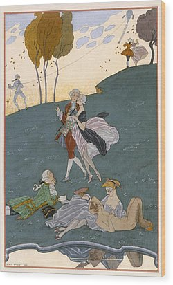 Fetes Galantes Wood Print by Georges Barbier