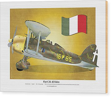 Fiat Falco C.r.42 Wood Print by Kenneth De Tore