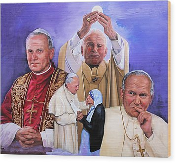 Fides Et Ratio Saint John Paul II Wood Print by Richard Barone
