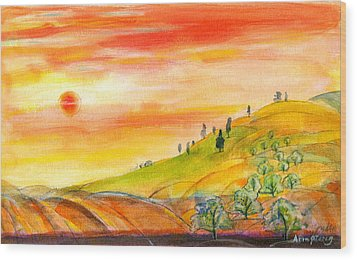 Field And Sunset Wood Print by Mary Armstrong