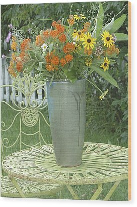 Wood Print featuring the photograph Field Flowers At The Mill by Delona Seserman