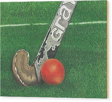 Field Hockey Wood Print