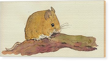 Field Mouse Wood Print by Juan  Bosco