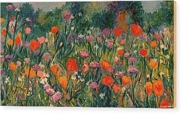 Field Of Flowers Wood Print by Kendall Kessler