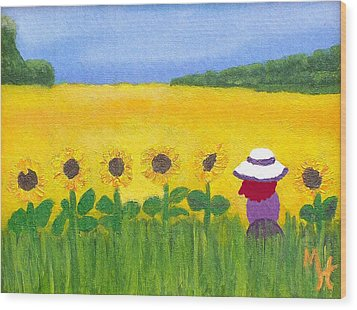 Wood Print featuring the painting Field Of Gold by Margaret Harmon