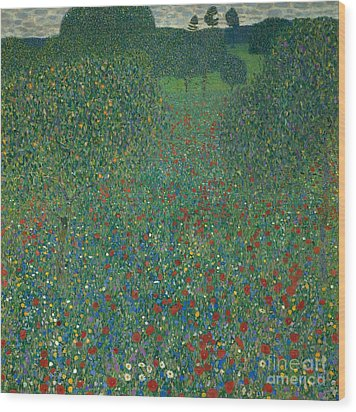 Field Of Poppies Wood Print by Gustav Klimt