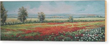Field Of Poppies Wood Print by Sorin Apostolescu