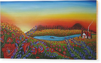 Field Of Red Poppies At Dusk 2 Wood Print by Portland Art Creations