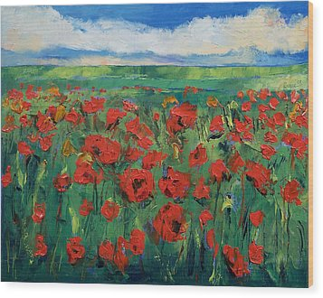 Field Of Red Poppies Wood Print by Michael Creese