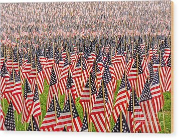 Field Of Us Flags Wood Print by Mike Ste Marie