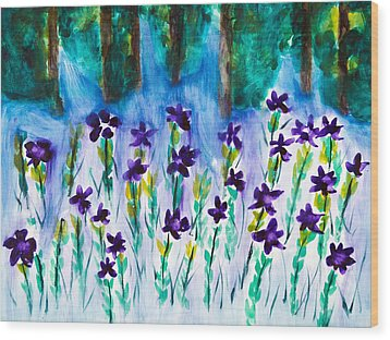 Field Of Violets Wood Print