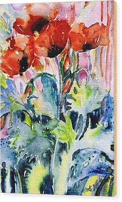 Field Poppies Wood Print by Trudi Doyle