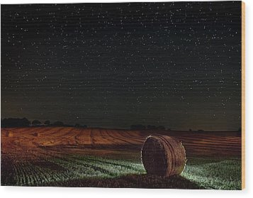 Fields At Night Wood Print
