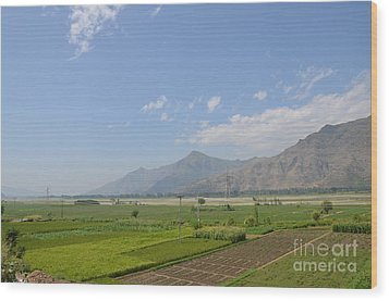 Wood Print featuring the photograph Fields Mountains Sky And A River Swat Valley Pakistan by Imran Ahmed
