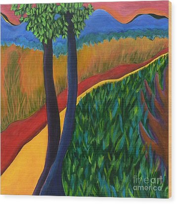 Wood Print featuring the painting Fields Of Agave by Elizabeth Fontaine-Barr