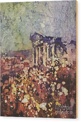 Fields Of Flower- And Roman Temple Wood Print