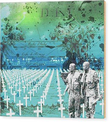 Fields Of Peace Wood Print by Diskrid Art
