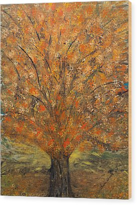 Fiery Autumn Wood Print