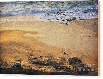 Wood Print featuring the photograph Fiery Beach by Ellen Cotton