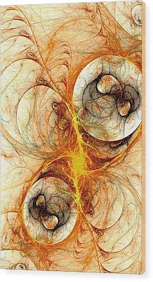 Fiery Birth Wood Print by Anastasiya Malakhova