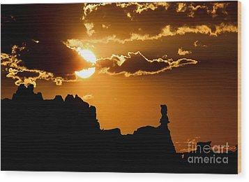 Fiery Desert Sky Wood Print