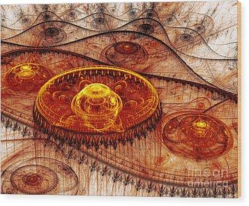 Fiery Fantasy Landscape Wood Print by Martin Capek