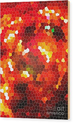 Fiery Red Stained Glass Wood Print by Gaspar Avila