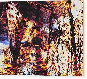 Fiery Reflections Wood Print by Shawna Rowe