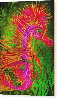 Fiery Sea Horse Wood Print by Adria Trail