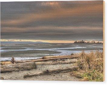 Fiery Sky Over The Salish Sea Wood Print by Randy Hall