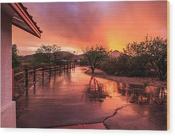 Fiery Sunset Wood Print by Beverly Parks