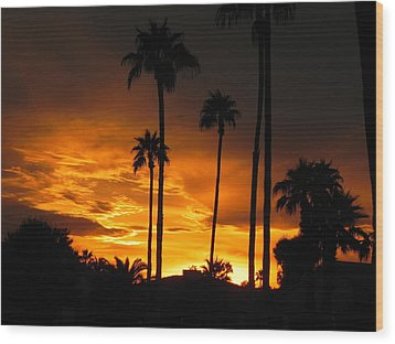 Fiery Sunset Wood Print by Deb Halloran